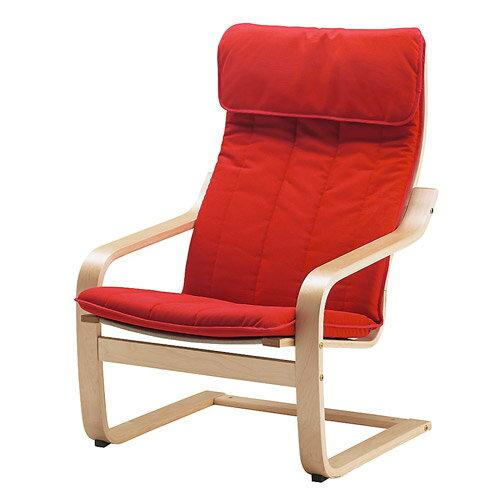 あす楽送料無料 IKEA イケア POANG ポエング アームチェア バーチ材突き板 ランスタ レッド