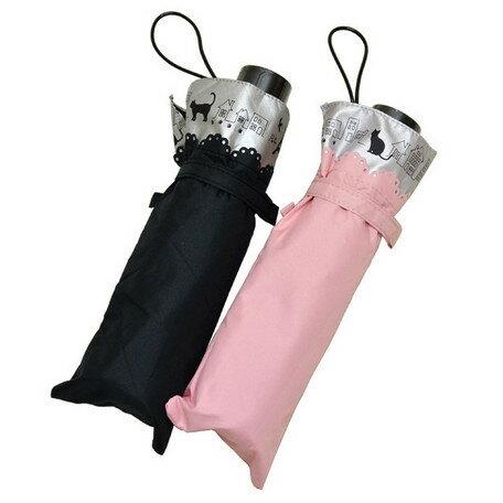 [MK]2015SS 晴雨兼用折りたたみ傘【お散歩CATヒートカット切り継ぎ】ネコ柄 50cm 楽々ミニ 折傘 レイングッズ かさ アンブレラ