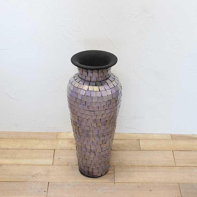 大きな 花瓶 壺 フラワーベース ライトパープル 藤色 H60cm 大きい おしゃれ インテリア モダン アジアン バリ オブジェ
