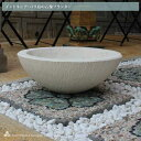 石のプランター 受け皿 水鉢 ホワイト W43cm バリ島 アジアン エクステリア ガーデン お庭用品