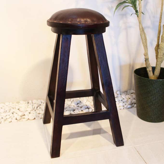 カウンターチェア 木のスツール 木の椅子 ハイスツール 木製 革張り 椅子 バーチェア ハイチェアー チーク家具 アジアン家具