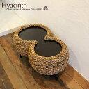 センターテーブル ローテーブル コーヒーテーブル テーブル 机 アジアン リゾート ウォーターヒヤシンス 籐家具 木製 バリ家具