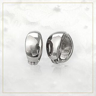 【ご予約納期8〜9週間】K18ホワイトゴールド/フープイヤリング(ピアリング)(11mm)(18金 18k)(ej0003wg-yk)