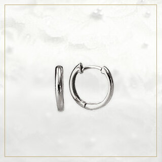 K18WG hoop pierced earrings 10mm round