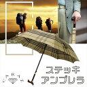 ステッキ 傘 杖 雨傘 軽量 送料無料 ステッキインアンブレラ 長傘 男女兼用 チェック 敬老の日 登山 富士山 CZ-UBTE CARAZ JPN