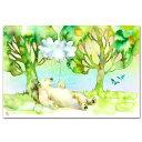 えかき雲屋 水彩イラストポストカード「シロクマの休日」