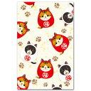 かわいいイラストぽち袋「紅白猫だるま」5枚入りお年玉袋としても 和道楽