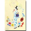 小倉マユコ・水彩イラストポストカード「夏祭り」暑中見舞い