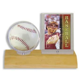 ウルトラプロ(UltraPro) サインボール&カードケース ライトウッド台座 (#81209) Light Wood Base Ball & Card Holder