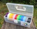 カラーテープBOX入プラBOX入カラーテープ12色(黒・灰・白・赤・橙・青・空・緑・若草・黄・ピンク・紫)デンカ(株)ハーネステープ1巻:19mm幅×20m【12色入】ビニールテープ #234Wおまけ付(茶色テープ1個)