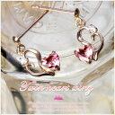 ショッピング安 [Twin heart wing]K10ピンクゴールド×ピンクトルマリン・ジルコニア・ハート&フェザーモチーフピアス【発送目安:2〜3週間】【P】
