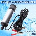 12V 小型 水中 ポンプ 33L/min ステンレス ケーブル 3m