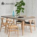 RoomClip商品情報 - ダイニングテーブル コンクリート天板 SKANDY DINING TABLE 北欧 160cm/180cm オーク無垢材 カーサヒルズ コンクリートテーブル カフェ風 セメント 食卓テーブル コンクリ Yチェア
