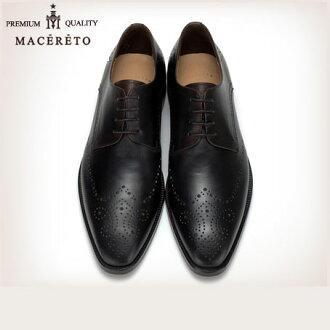 商務鞋獨家真皮皮鞋的翼尖黑色商務鞋外葉片 Macereto (酷一些商務鞋巴士籠商務鞋品牌男鞋鞋男人男士鞋男士鞋皮革鞋男人)
