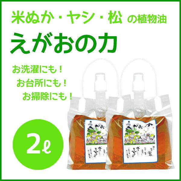 植物油由来成分からできた濃縮自然派洗剤「えがおの力(旧松の力)」2L 2個セット