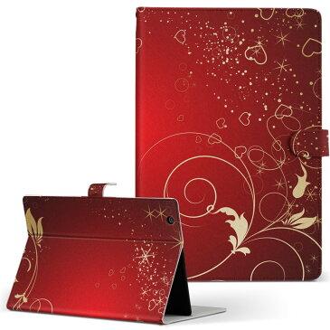 Tab W NEC 日本電気 LaVie ラヴィ tabw LLサイズ 手帳型 タブレットケース カバー 全機種対応有り レザー フリップ ダイアリー 二つ折り 革 ラグジュアリー 赤 レッド ハート 005767