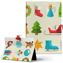 iPad mini 4 Apple ipadmini4 Mサイズ 手帳型 タブレットケース カバー レザー フリップ ダイアリー 二つ折り 革 009964 クリスマス サンタ 雪だるま