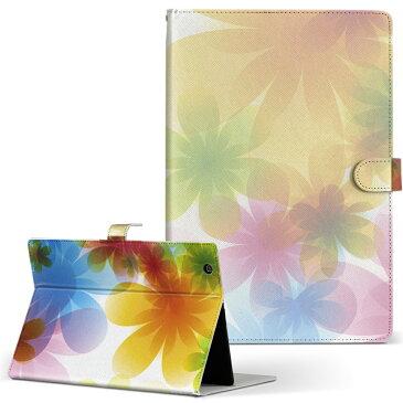 LaVie ラヴィ tabs NEC 日本電気 Mサイズ 手帳型 タブレットケース カバー 全機種対応有り レザー フリップ ダイアリー 二つ折り 革 クール 花 フラワー カラフル 002083