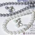 【casho】貝パール(ホワイト・グレー) ネックレス・イヤリング(ピアス) 2点セット 大珠8.0−8.5mm【楽ギフ_包装】 冠婚葬祭、入学式、卒業式、パーティー、全てのシーンで使える定番のフォーマル真珠セット