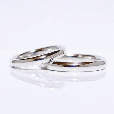 【CASHO】pt950(ハードプラチナ)/ペアリング(2本)製作/ストレートラインシリーズ/甲丸/3mm+3.5mm/ベーシック/メンズ&レディース/ペアリング/マリッジリング/結婚指輪/