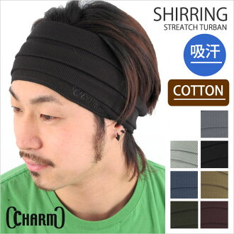 "シャーリングストレッチターバンヘア band ""charm"" and knit Cap / outdoor hairband Mens sport Hat football Futsal gym sweat 10P13oct13_b"