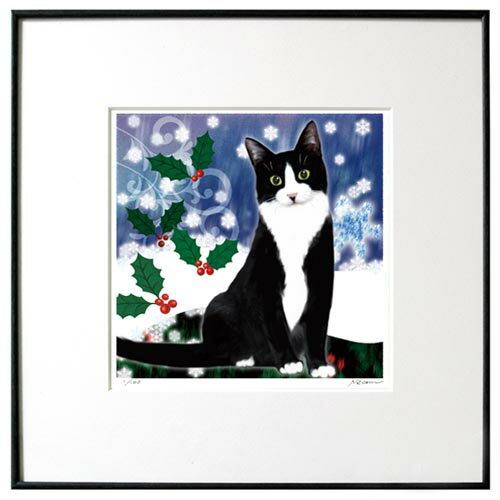 猫夢アート版画「ひいらぎ」クリスマスシロクロ猫