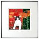 猫夢アート版画 「曼珠沙華」サバシロ猫 キジブチ