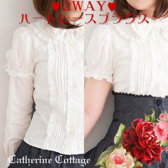 2WAY deniable long sleeve short sleeve dual-use with Ribbon ブラウスフォーマル junior girls wedding presentation of graduation 160 cm [クラロリ, Lolita, Ribbon, Gothic Lolita, Lolita, Lolita, classical
