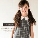 子供服 ゆったりサイズ対応 ウインドウペンAライン ワンピース[女の子 キッズ 半袖 ワンピ