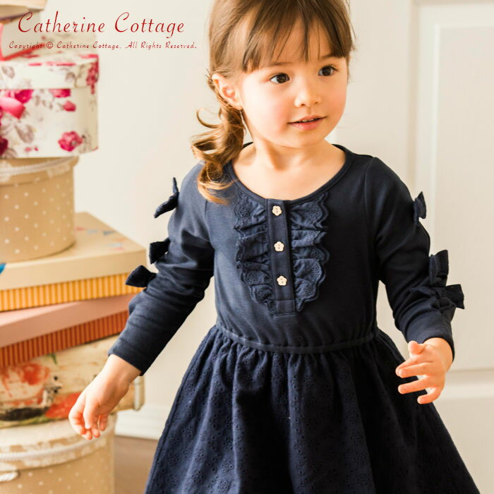 Catherine Cottage儿童蝴蝶结花朵长袖连衣裙