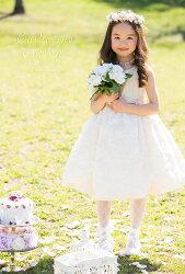 大バラたくさんスカ−トワンピース子供フォーマルドレスベージュ[おでかけ][卒入学[ワンピ][入学式][発表会][結婚式]