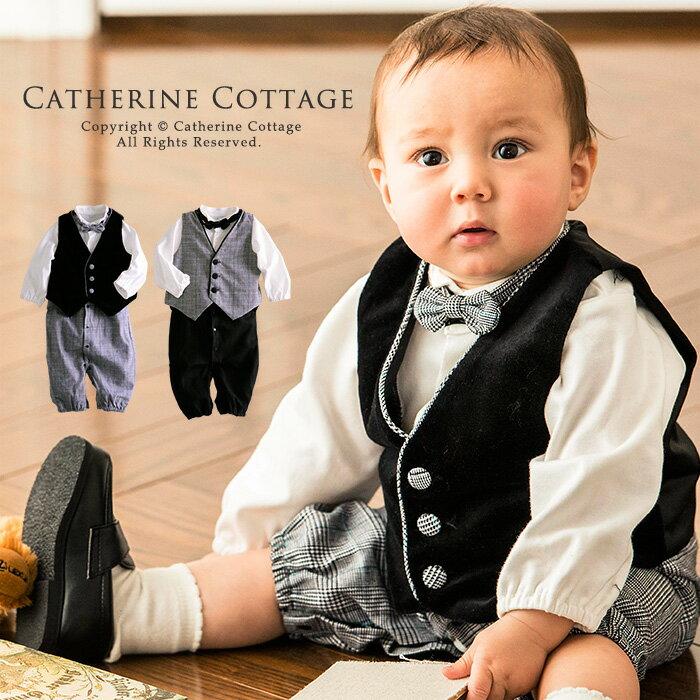 [男の子スーツ] YUP12 子供服 ベスト付きロンパーススーツ[ベスト]蝶ネクタイ3点セ…...:catherine:10001190