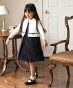 入学式 白襟付き前プリーツワンピースアンサンブル 女の子 白...