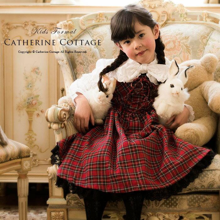 ワンピース女の子 子供服 タータンチェック編み上げ ジャンパースカート[ハロウィン 衣装 …...:catherine:10001703