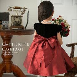子どもドレス子供ドレスベロアとパールリボンのシンプルドレス結婚式発表会七五三こどもドレスワンピースフォーマルハロウィン