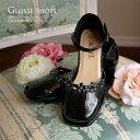 アウトレット子供靴 お花とラインストーンのエナメルキッズシューズ 子供服 キャサリンコテージ