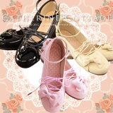 日本製 プティレースアップシューズ [ レディース 女の子 ジュニア 靴 22 23 24 25 黒 白 ピンク 編み上げ リボン ぺたんこ靴 フラットシューズ ロリィタ 甘ロリ