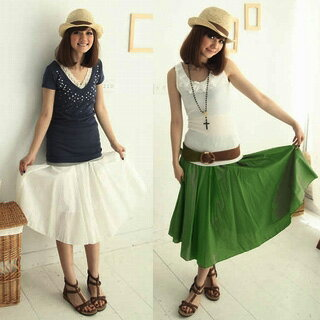 Our single extrusion! Dates easier ♪ hemp style long skirt lined with long-long skirt-Maxi-knee-flare-simple-casual-skirt-one size fits all