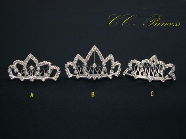 『ラインストーンのミニ・ティアラ(MT-003)』 ヘアアクセサリー、 ヘッドドレス、 ティアラ、 キッズアクセサリー、 髪飾り、 フォーマル、 ラインストーン、 キラキラ、 発表会、 結婚式、 パーティー 【CC-Princess】