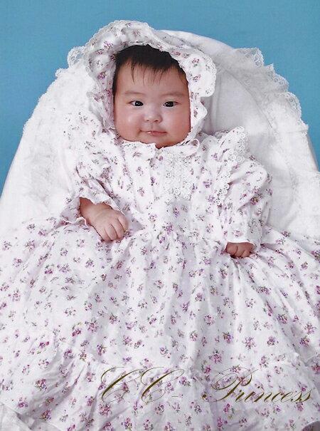 70cm ワンピース、 フォーマルドレス、 コットン、 コットンのベビードレス/エプロン・帽子付3点セット 女の子、 結婚式、 花柄、 BB,002 1歳のお誕生日に 品質一番の