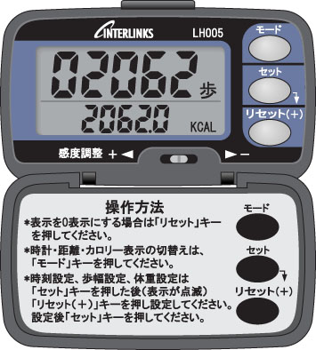 -In send INTERLINKS ( Internet links ) lid with multifunctional pedometer LH005B black