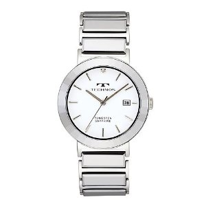 (as for the collect on delivery separately the postage) (regular article) T1034CW テクノス /TECHNOS/ watch / clock / watch / men / office for TECHNOS (テクノス) super hard tungsten watch, white clockface, men