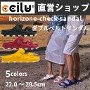ダブルベルト サンダル メンズ・レディース ccilu-horizone-check-sandal ウォッシ