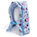 防災頭巾(椅子固定ゴム付き) 水色アーガイルと子猫のプリンセス.