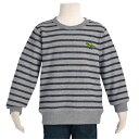 スウェットシャツ 杢グレー×ネイビー(スピノサウルス・刺繍入り)【長袖トレーナー】(子供 キッズ 幼児 小学生 男の子 入学祝い)