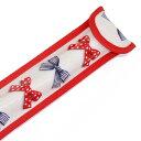 リコーダーケース ポルカドットとストライプのフレンチリボン (アイボリー) 子供用 定規ケース ランドセル リコーダー ケース かわいい 30cm ものさしケース ものさし入れ リコーダー袋 定規入れ 笛 ケース 定規 縦 笛 袋