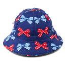 ベビー帽子 ハット ポルカドットとストライプのフレンチリボン(ネイビー) 日本製 (あす楽/赤ちゃん/ベビー/新生児/出産祝い/ギフト/女の子)