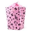 消臭おむつポーチ 巾着タイプ 水玉音符のハーモニー(ピンク)【オムツケース おむつ入れ おむつバッグ】(赤ちゃん ベビー 出産祝い女の子)