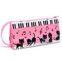 ペンケース ピアノの上で踊る黒猫ワルツ(ピンク) (筆箱 子ども ペンポーチ ファスナー 子供 小学校 シンプル 大容量 女の子 ピアノ 猫 ピンク)