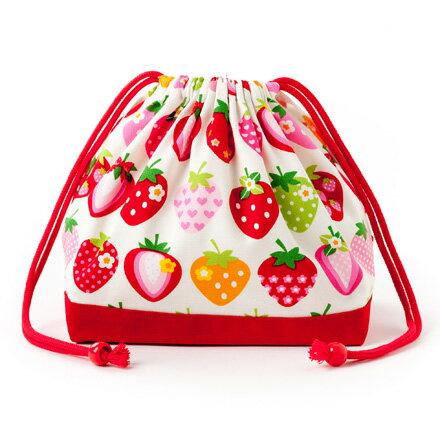 スタンダードタイプ巾着袋・中マチ有りお弁当袋スイートストロベリーコレクション(アイボリー)×オックス